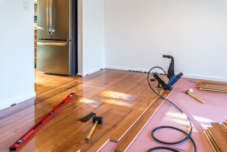 Upgrading flooring after a house fire.JPG