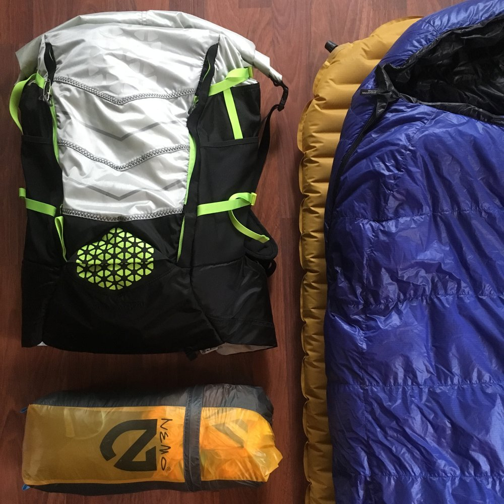 The Big Four - Backpack: Boreas | Buttermilks 40L (not pictured)Tent: Nemo | Hornet Elite 2PSleeping Mat: Therm A Rest | NeoAir XliteSleeping Bag: Western Mountaineering | UltraLite 20° F