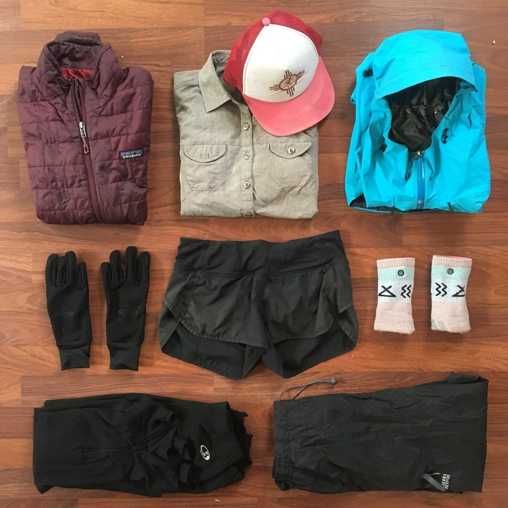 Clothes - Wind Jacket: Patagonia | HoudiniPuffy: Patagonia | NanoPuffRain Jacket: Arc'teryx | Alpha SLRain Pants: Sierra DesignsGloves: Seirus | SoundTouchShoes: Brooks | Pure Grit 6 Hiking Shirt: OR | Reflective L/S  Shorts: LuLu Lemon | Speed Short Sports Bra: Patagonia Hats: Stetson ExplorerSocks (x3): Darn Tough (Low Cut & Knee High)