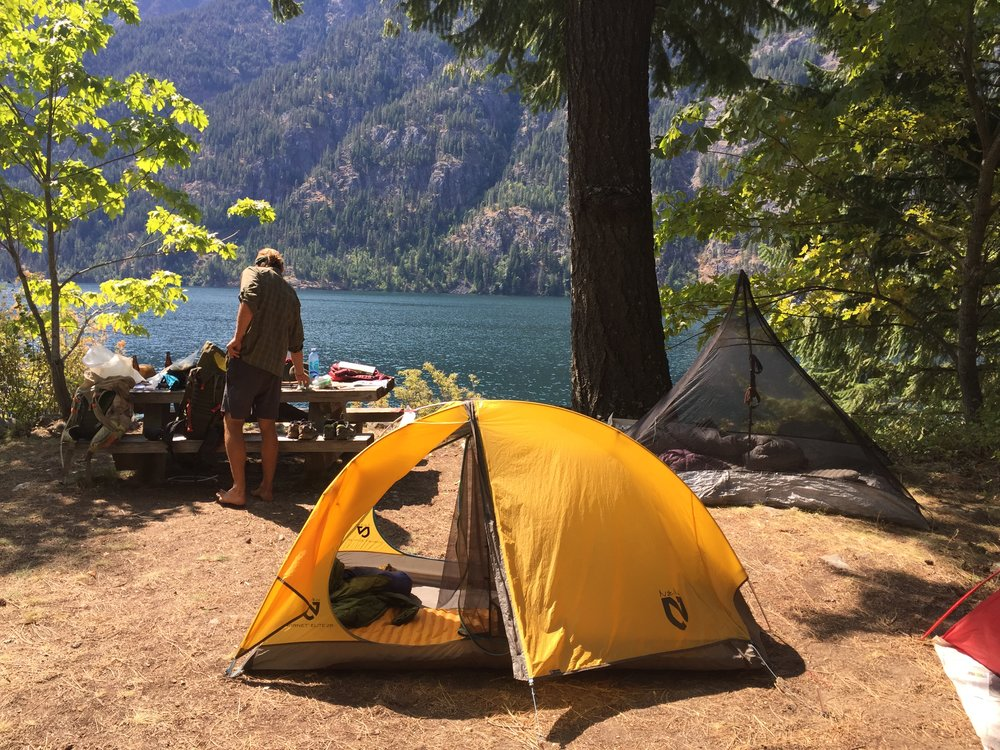 Stehekin camp spot over Lake Chelan