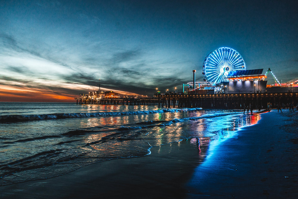 Sunset at Santa Monica Pier, CA