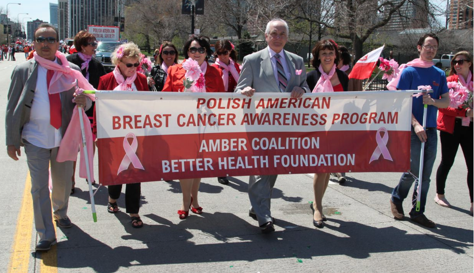 Amber Coalition, Dr. Marek Rudnicki's Breast Cancer Awareness Program, proudly marches in the May 3rd Constitution Day Parade.