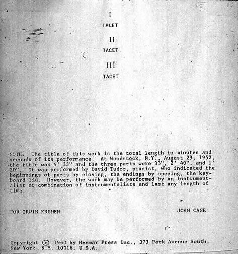 "4'33""  by John Cage: four minutes and thirty-three seconds of silence."