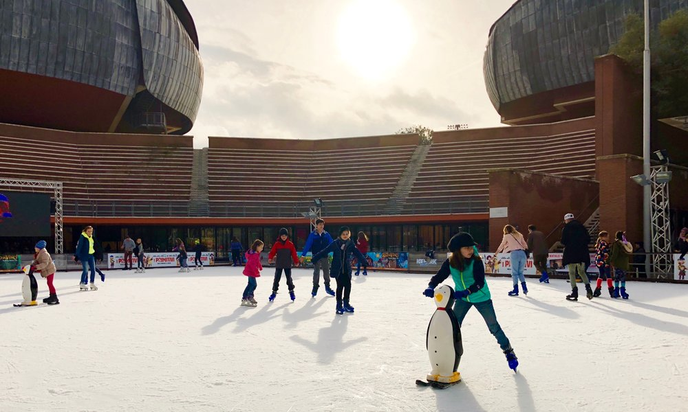 Ice skating at the  Parco della Musica/Auditorium  in Quartiere Flaminio
