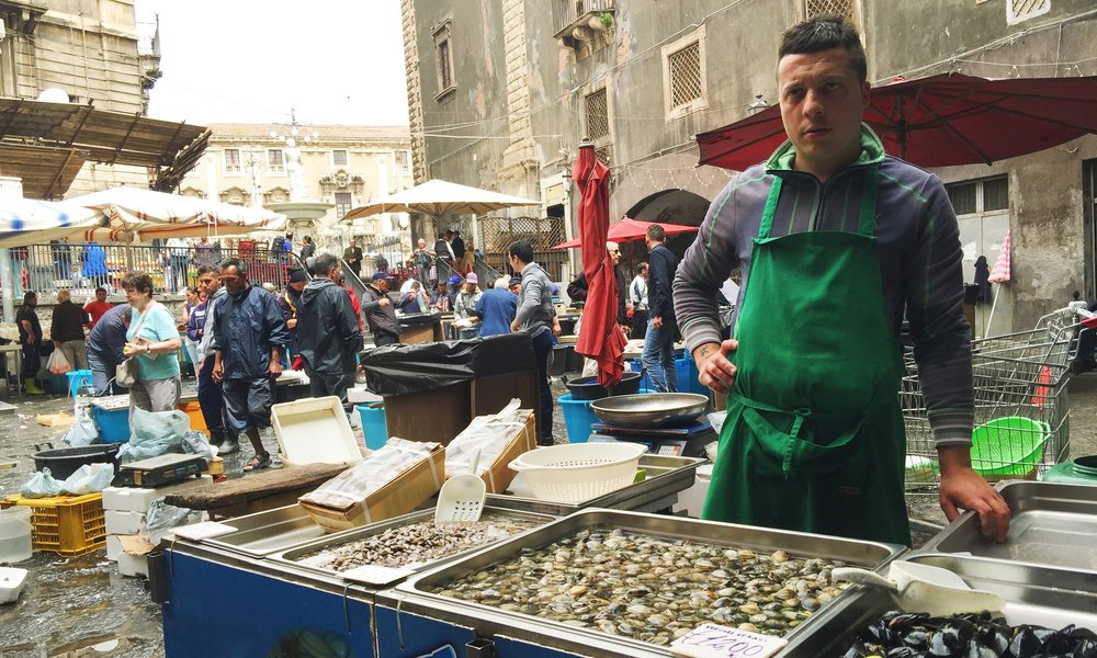 The historic fish market by Piazza del Duomo.