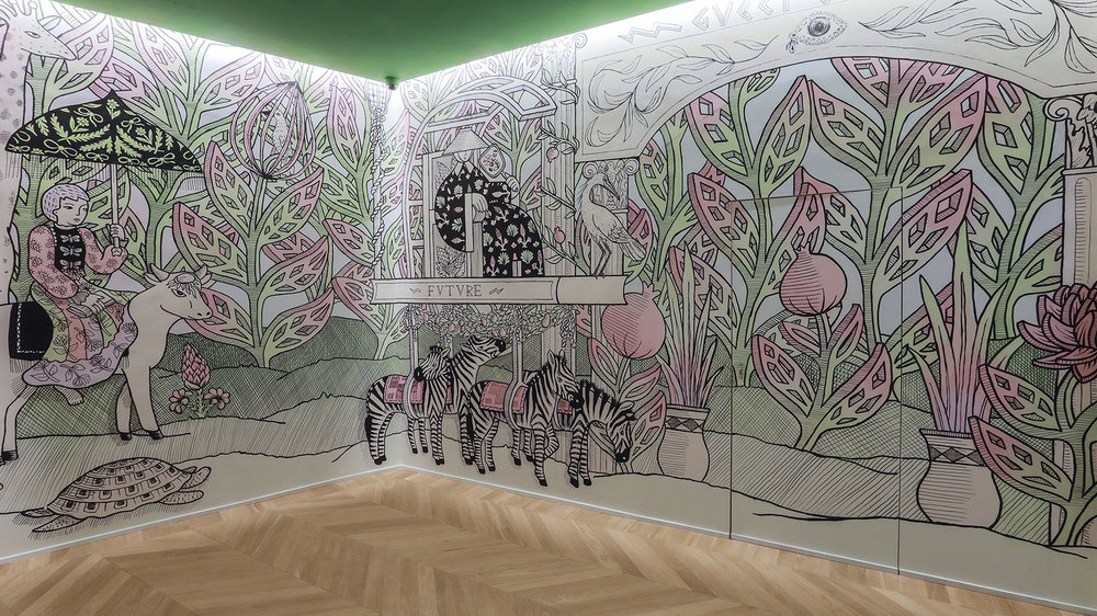 Artist  Jayde Fish 's whimsical murals. Courtesy of Gucci.