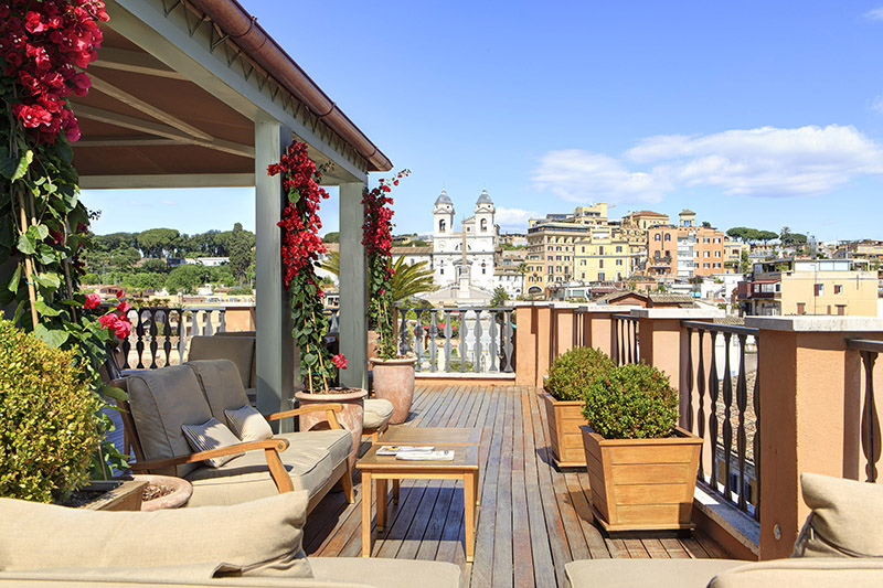 Portrait Roma's Rooftop Terrace.  Credit: Portrait Roma – Lungarno Collection