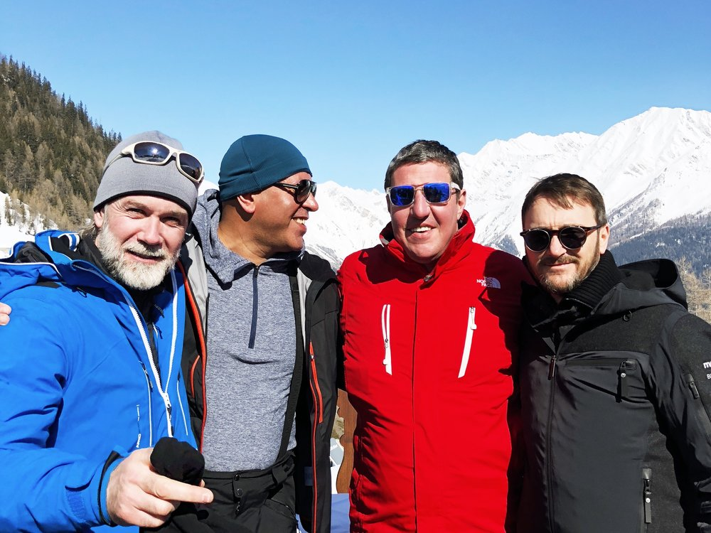 Superstarred chefs Marcus Wareing, Sat Bains, Claude Bosi and Jason Atherton in 2018's Mountain Gourmet Ski Experience