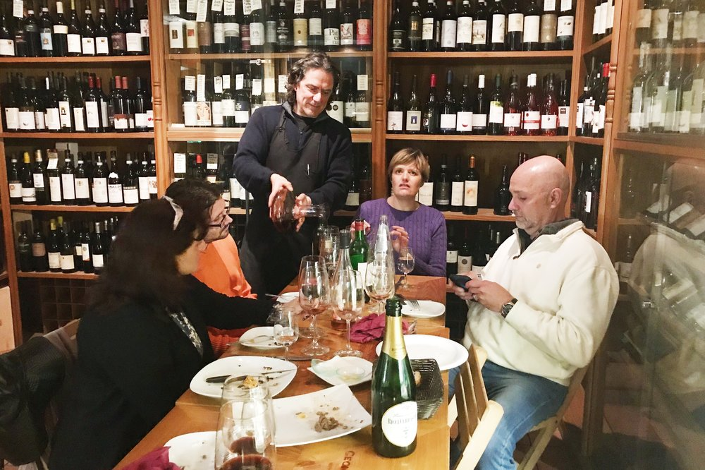Wine talk at Angolo Divino.