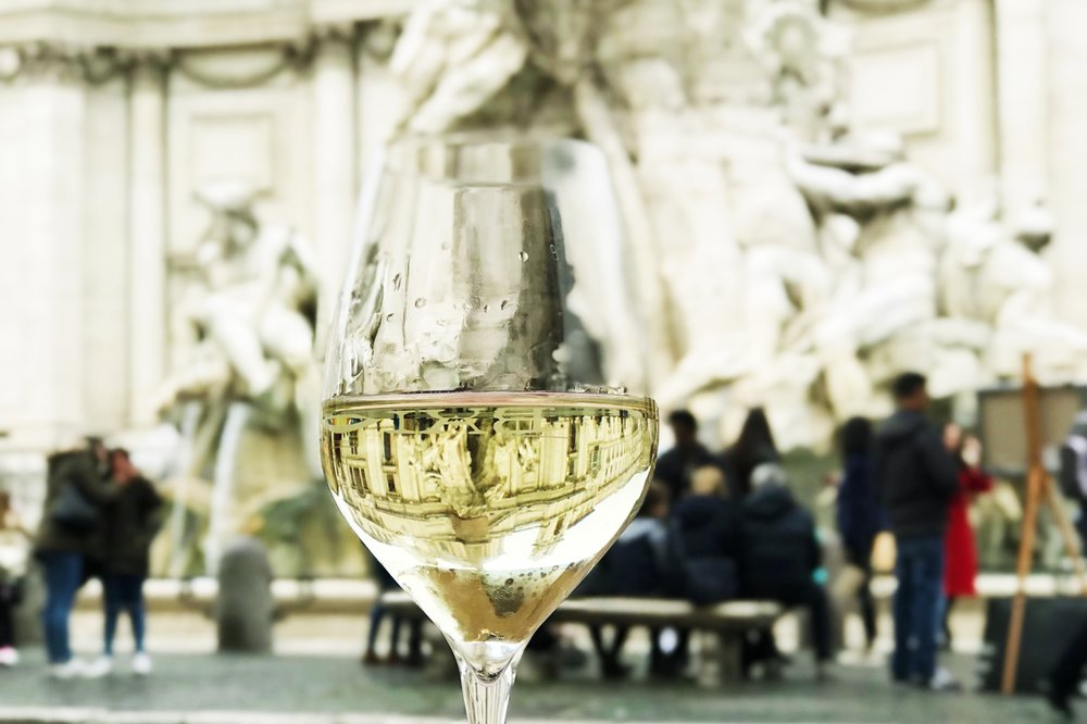 Drinking in Piazza Navona.