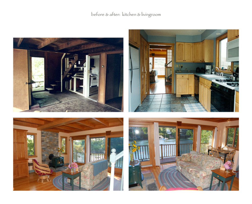 before & after (kitchen & LR)