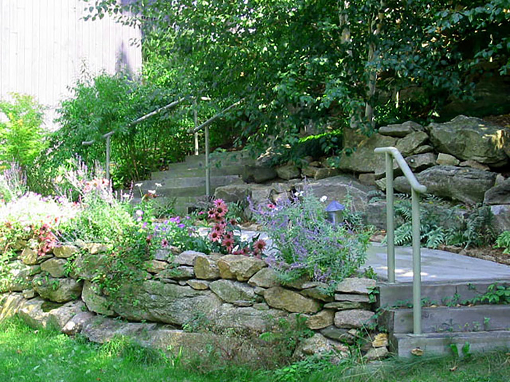 garden-04 (a colorful cottage-style perennial border & path through woodland gardens).JPG