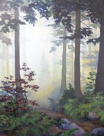 """Misty Forest"" acrylic 40x30 by Paul Lewing"