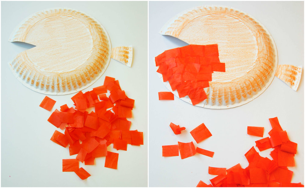 goldfish paper plate craft collage