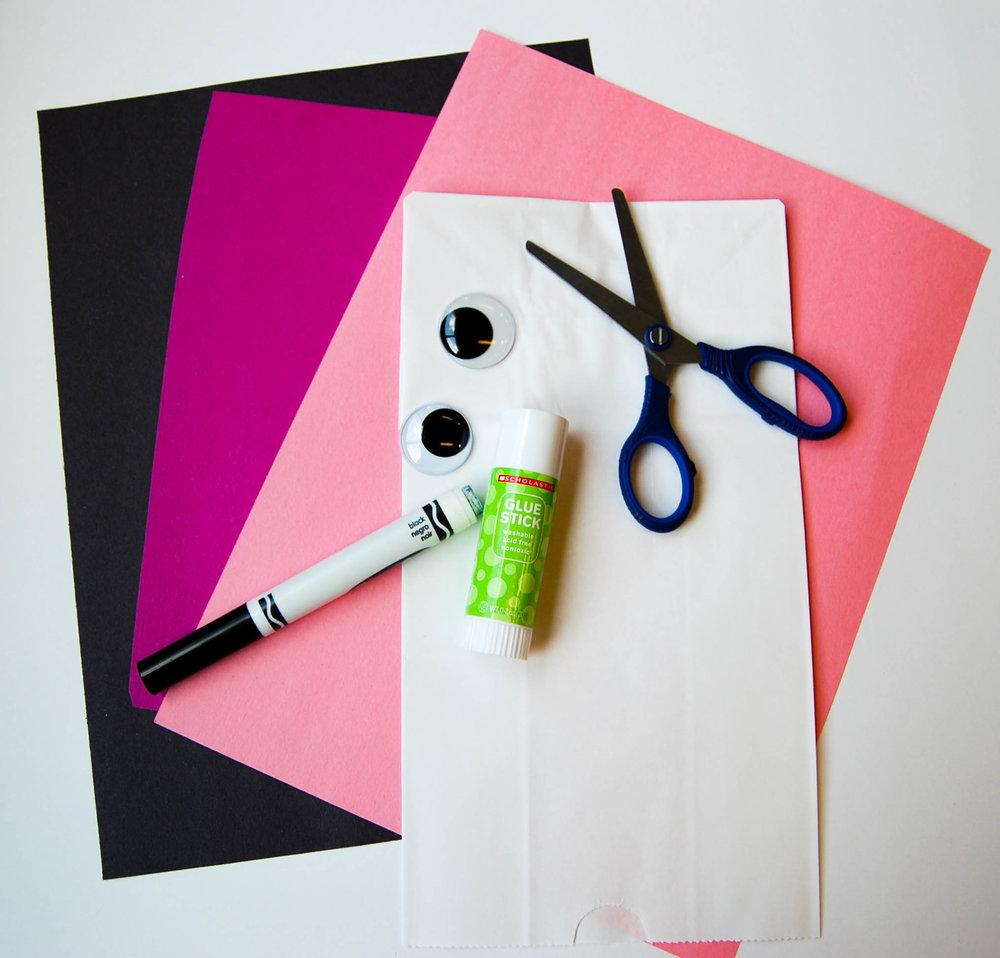 pig paper bag puppet supplies