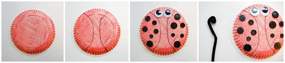 ladybug paper plate craft collage