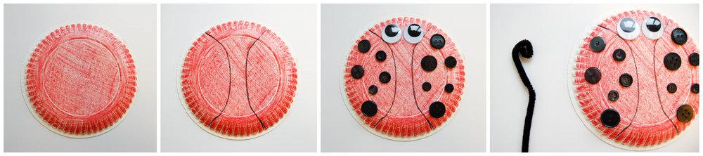 ladybug paper plate craft collage