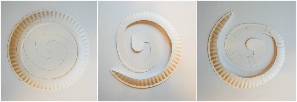 snake paper plate craft collage 1
