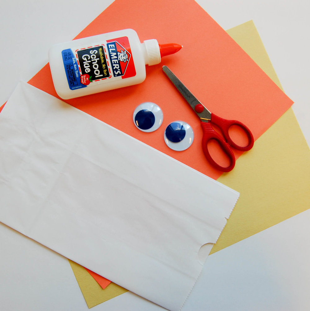 bird paper bag puppet supplies