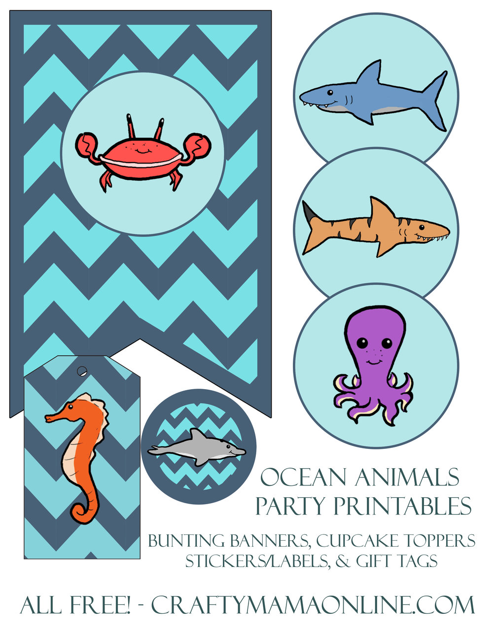 ocean animals party printables