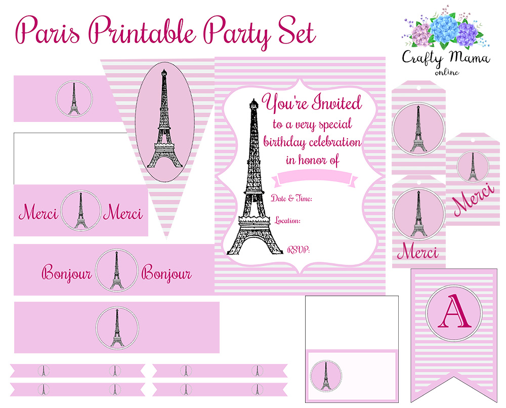 The full set is available in my Etsy shop! Includes 30 high-resolution pages full of everything you need to decorate a girl's birthday party set in Paris.