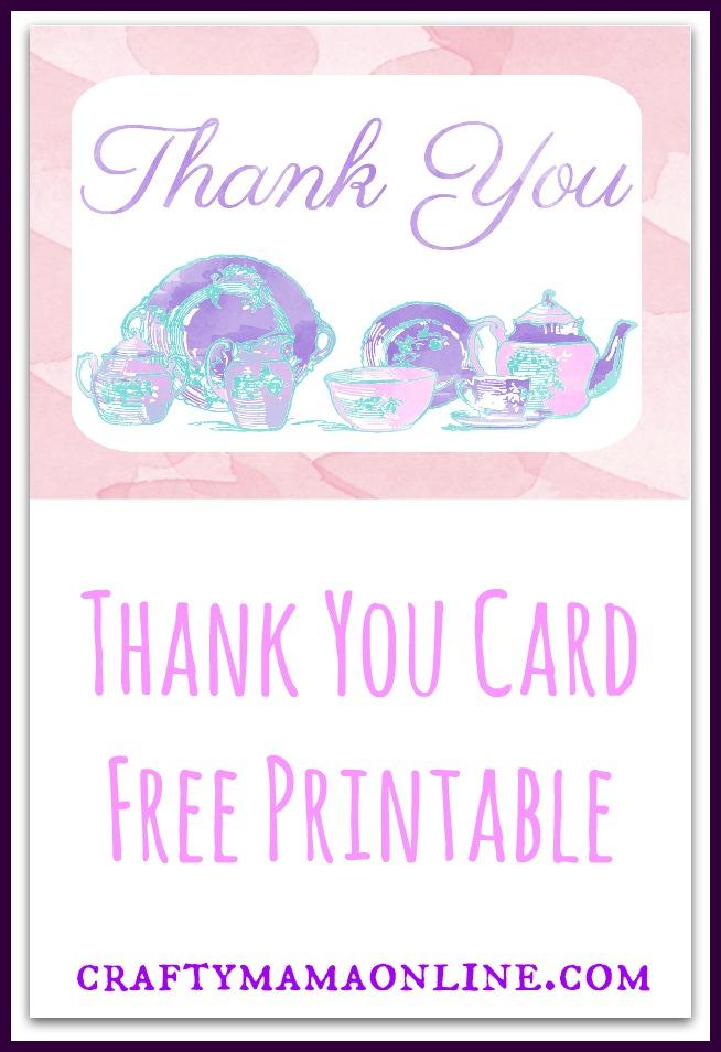 thank you card free printable tea set