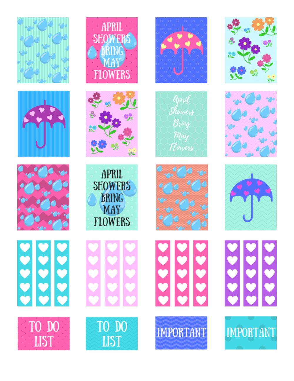 free printable april showers planner stickers