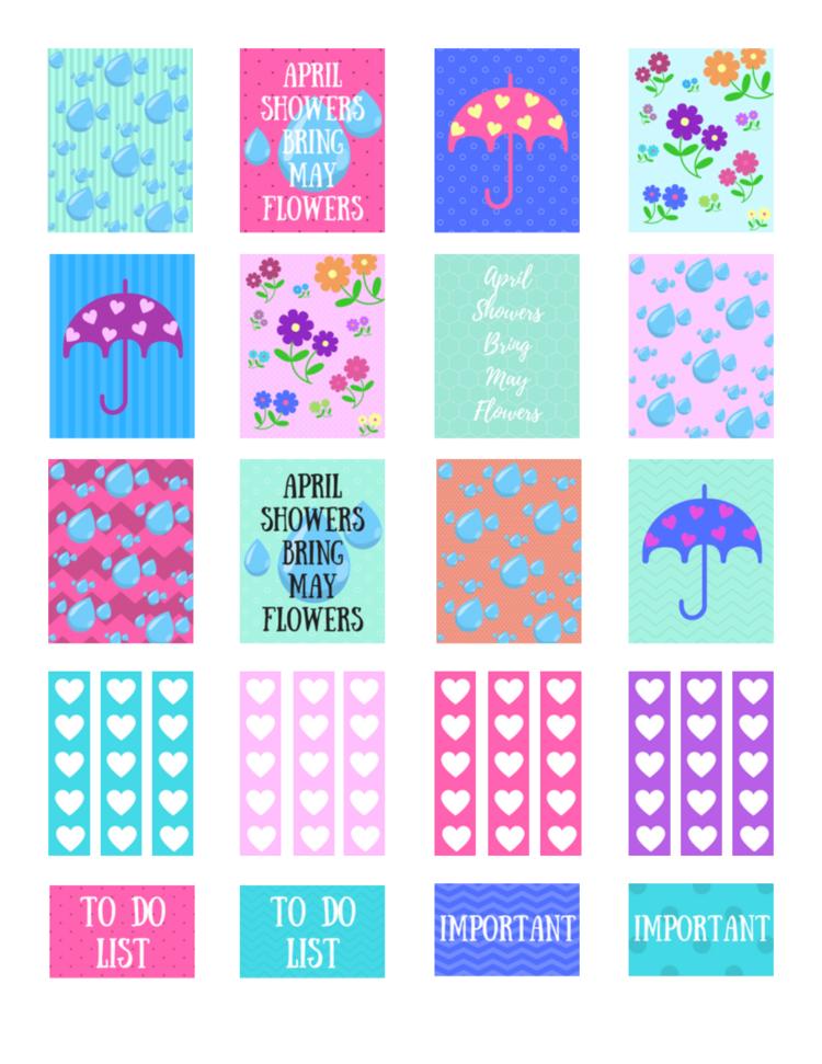 Free Printable April Showers Planner Stickers Violet Paper Designs