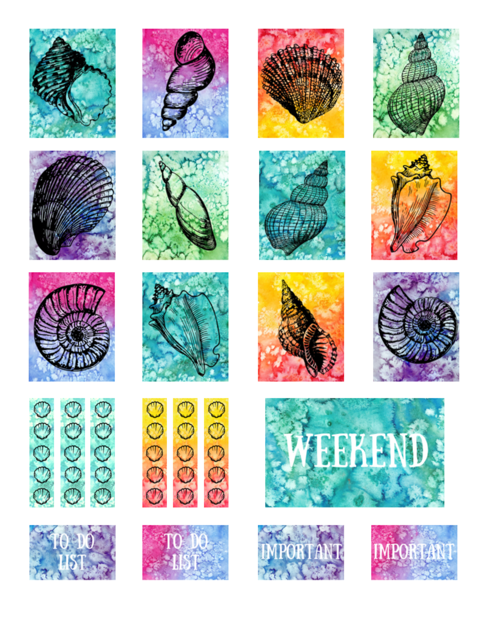 free printable seashell planner stickers