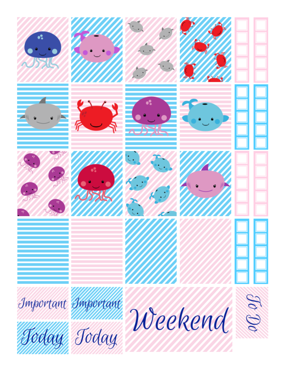 free printable sea animals planner stickers