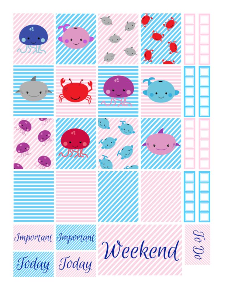 Free Printable Sea Animals Planner Stickers Violet Paper Designs
