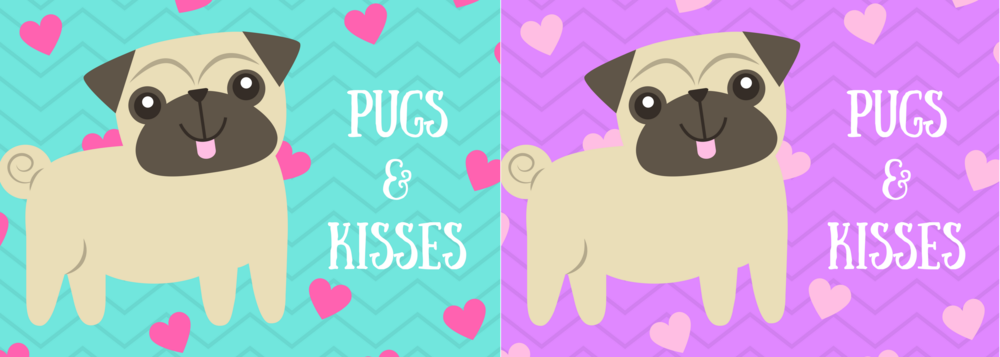 free printable pugs and kisses card