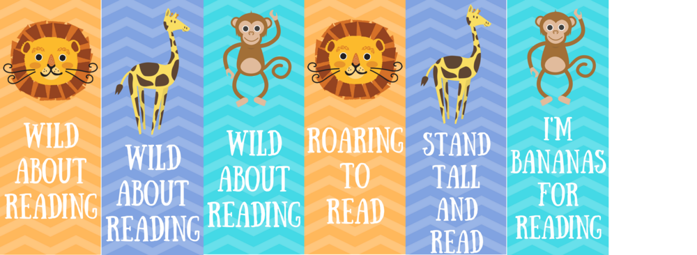 free printable wild about reading bookmarks