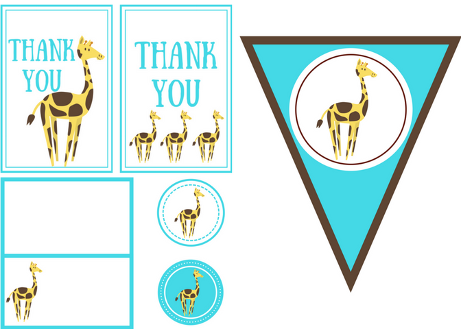 free printable giraffe party kit