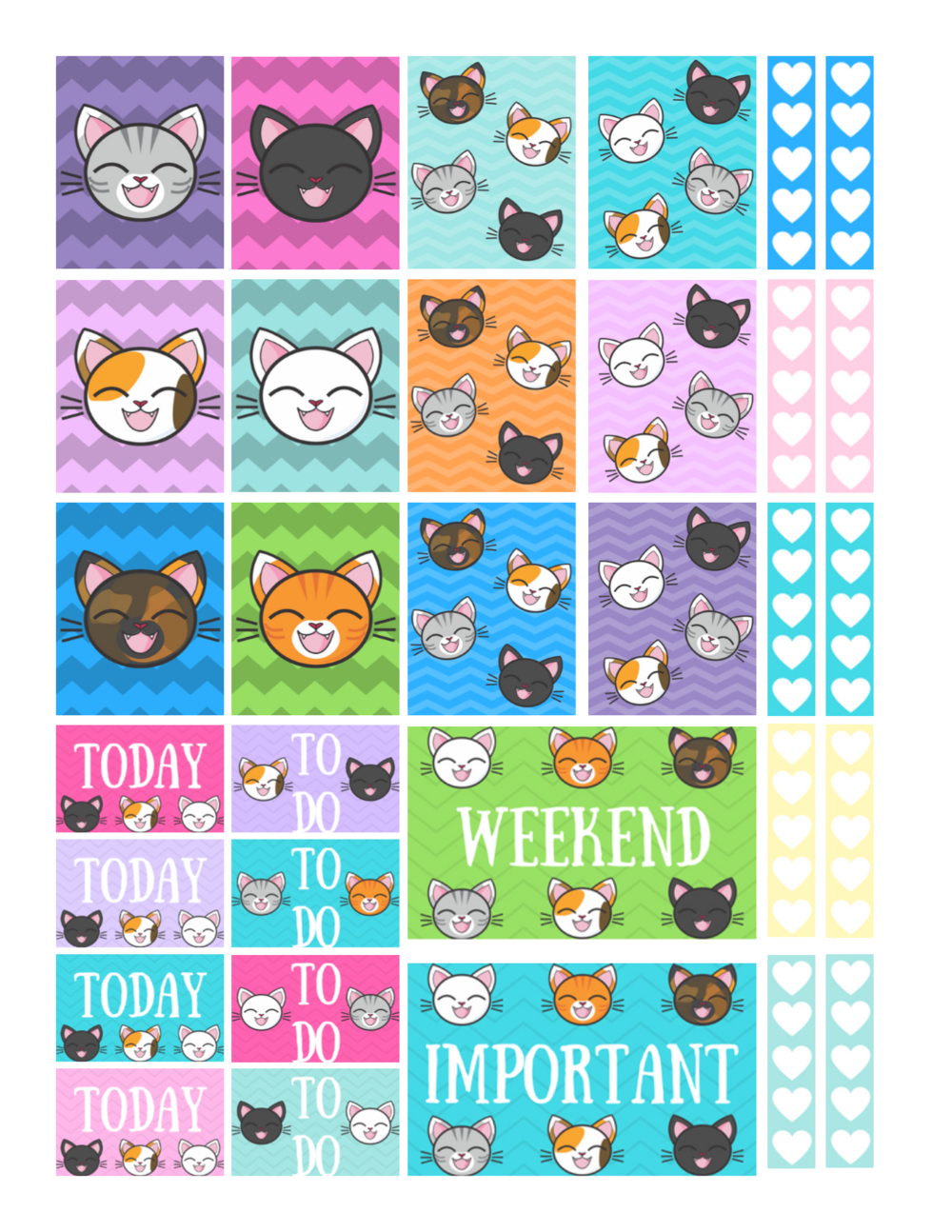 free printable kitty cat planner stickers
