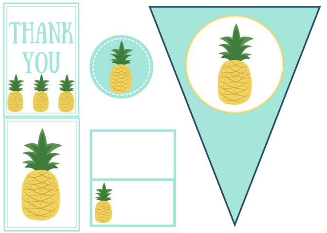 free printable pineapple party set
