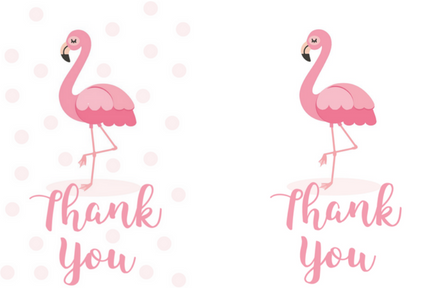 free printable flamingo thank you gift tags