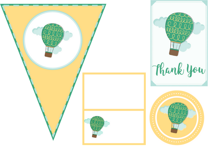 free printable hot air balloon party set