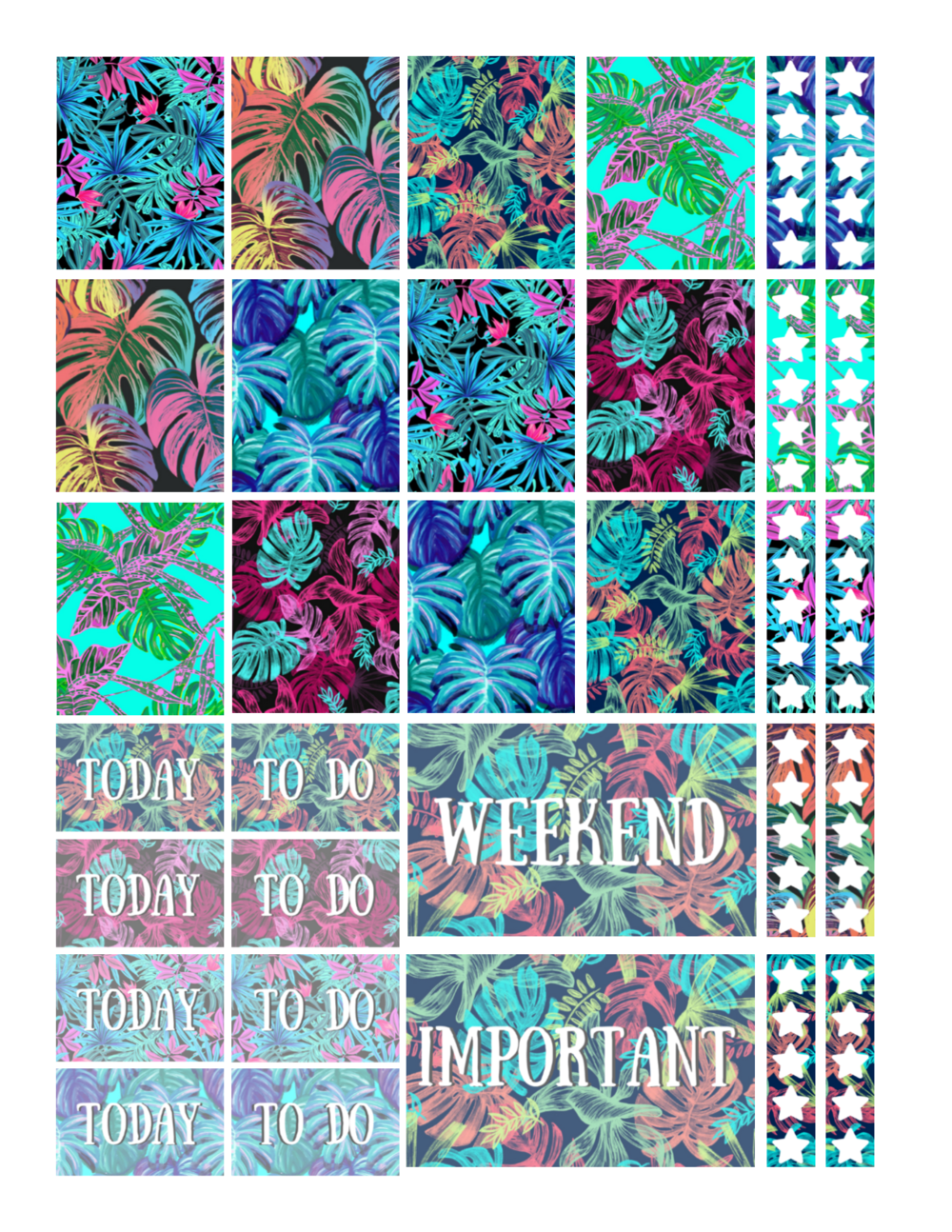 free printable neon tropical planner stickers