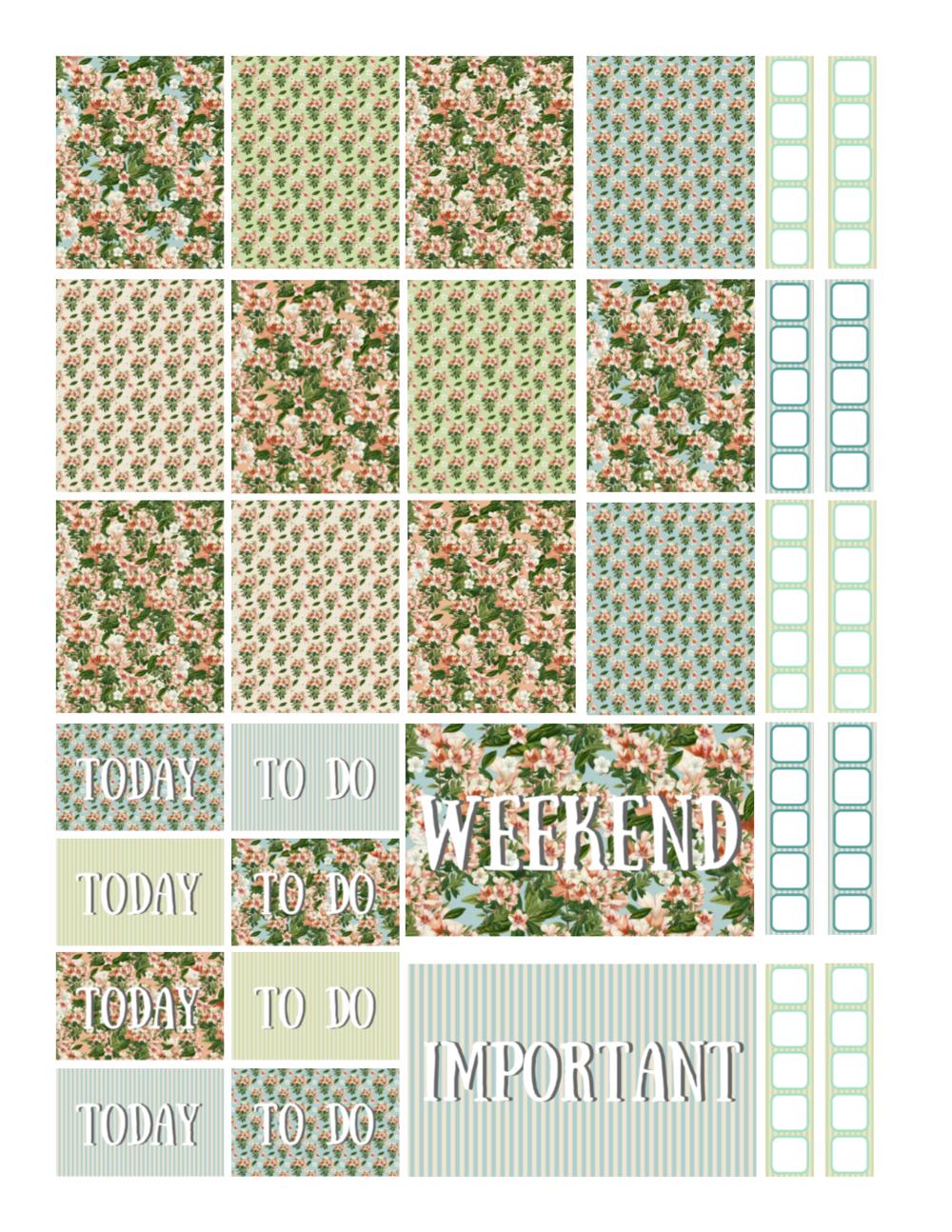 free printable vintage azalea flowers planner stickers.png
