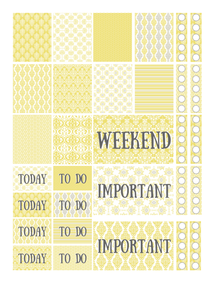 Free Printable Yellow Sunshine Planner Stickers — Violet Paper Designs