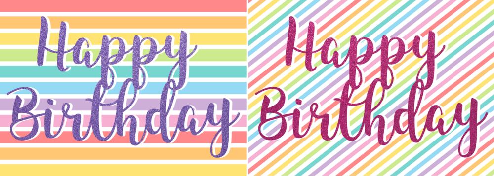free printable rainbow glitter happy birthday cards