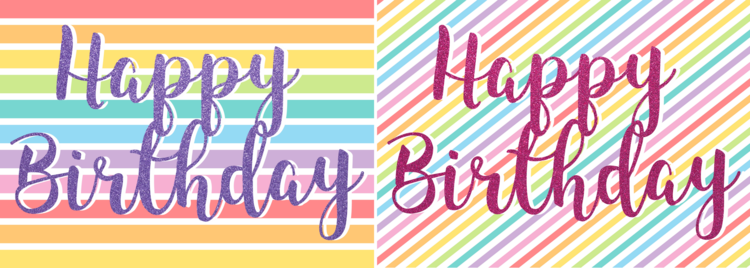 Free Printable Rainbow Glitter Happy Birthday Cards