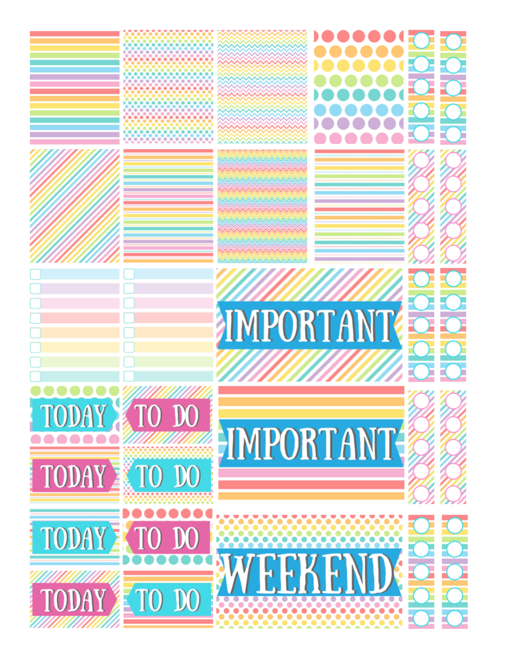 free printable rainbow planner stickers