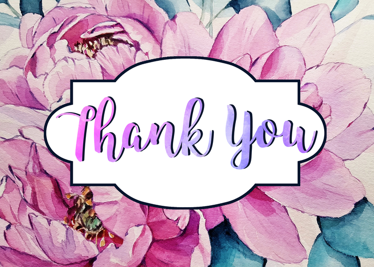 free printable floral watercolor thank you card