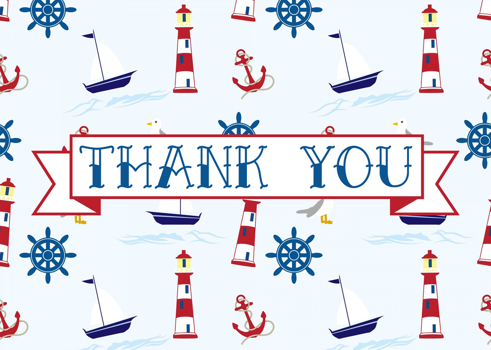 free printable nautical thank you card