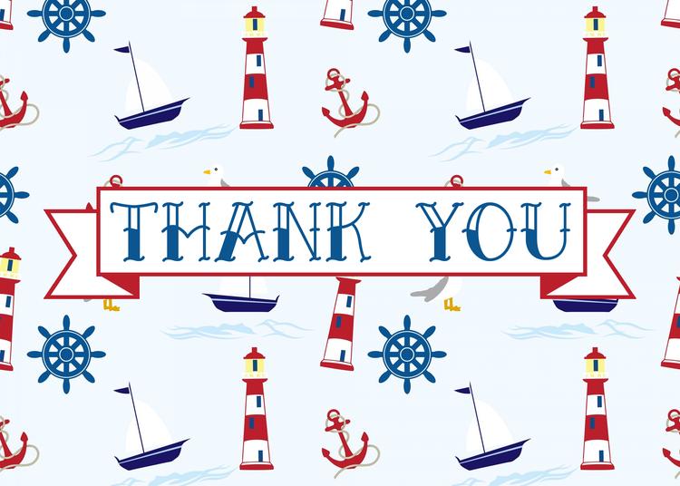 Free Printable Nautical Thank You Card