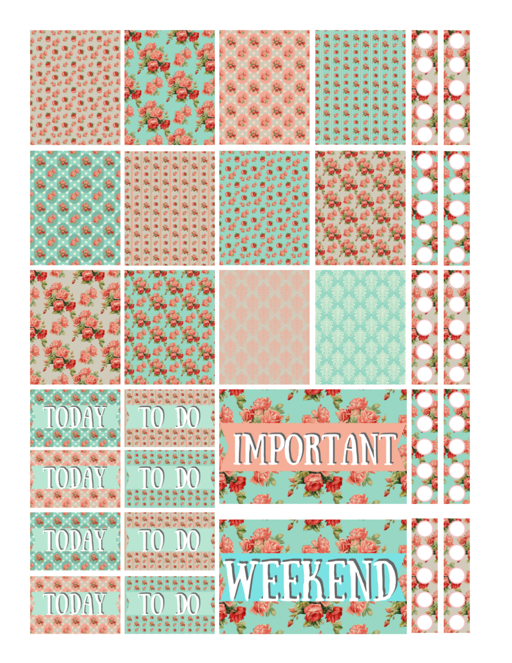 free printable rose planner stickers
