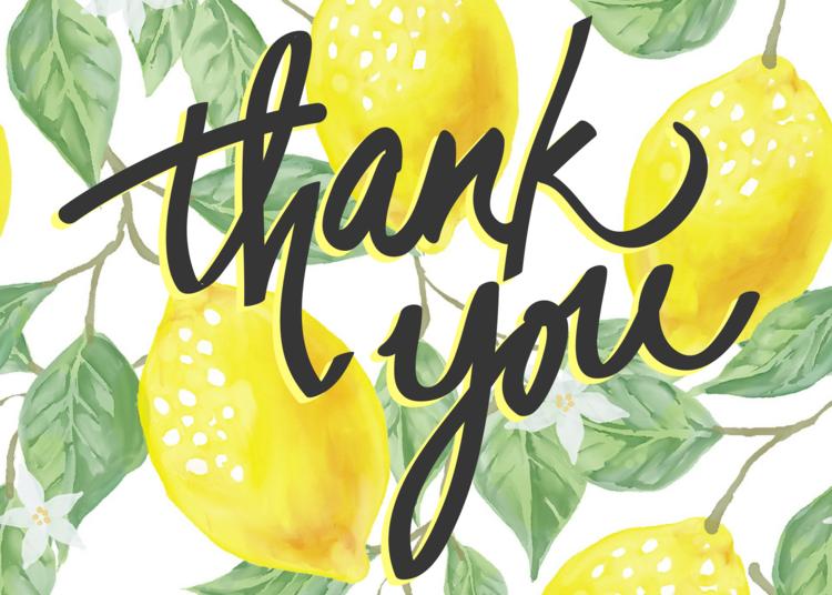 Free Printable Lemon Thank You Card Violet Paper Designs