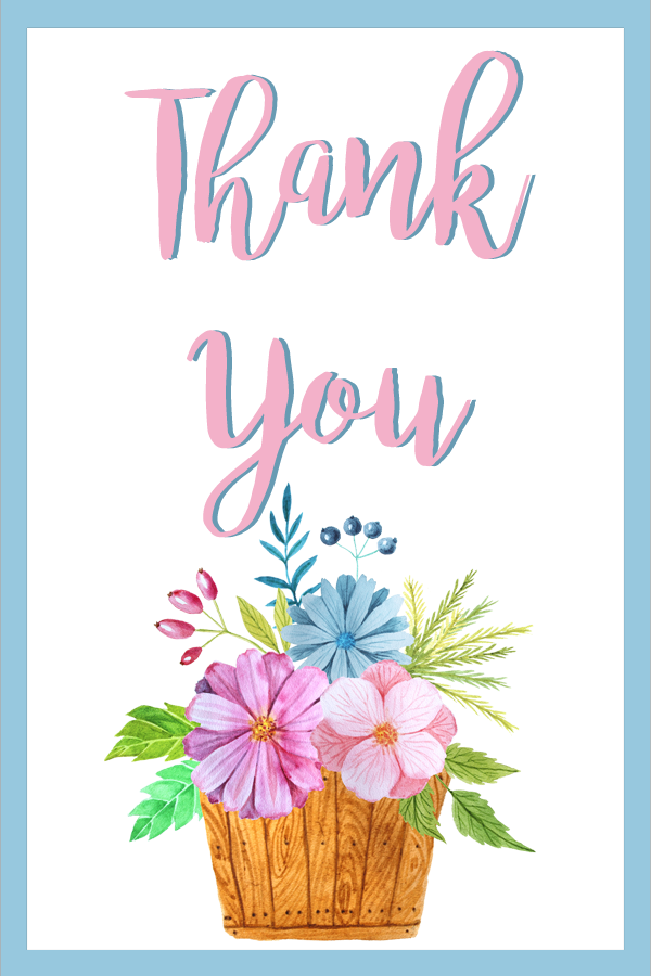 free printable floral thank you gift tags
